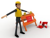 3d character engineer with under construction board and traffic cones concept Stock Images