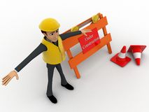 3d character engineer with under construction board and traffic cones concept Stock Photo