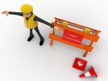 3d character engineer with under construction board and traffic cones concept Stock Photos
