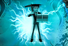 3d character engineering graduate illustration Stock Photo