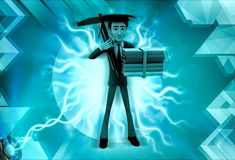 3d character engineering graduate illustration Royalty Free Stock Photo