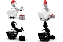 3d character fall in cart concept collections with alpha and shadow channel Stock Photos