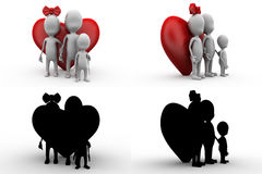 3d character family heart concept collections with alpha and shadow channel Royalty Free Stock Photo