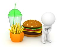 3D Character feels sick from junk food. 3D Rendering isolated on white stock illustration