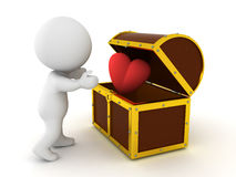3D Character finding cartoon heart in treasure chest. This image could mean that love is precious and is locked away Royalty Free Stock Images