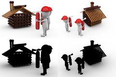 3d character fire extinguish home concept collections with alpha and shadow channel Stock Photography