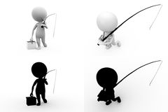 3d character fishing concept collections with alpha and shadow channel Royalty Free Stock Images