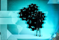 3d character fixing gear cogwheel illustration Royalty Free Stock Images