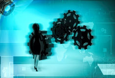 3d character fixing gear cogwheel illustration Stock Photography