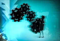 3d character fixing gear cogwheel illustration Royalty Free Stock Image