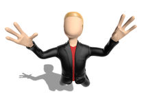 3D character flying int the sky Stock Images