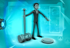3d character with gavel in hand illustration Stock Photos