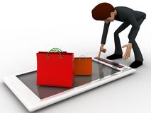 3d character with gift bags over mobile phone concept Royalty Free Stock Photos
