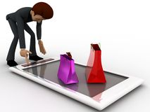 3d character with gift bags over mobile phone concept Stock Photography