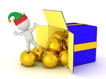 3D Character with Gift Box and Globes Royalty Free Stock Photography