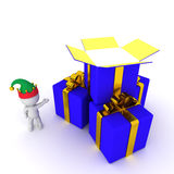 3D Character with Gift Boxes Royalty Free Stock Image
