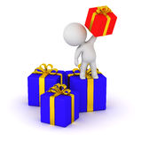 3D Character with Gift Boxes Stock Image