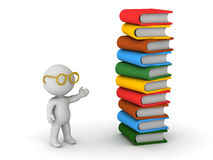 3D Character with Glasses and Books Royalty Free Stock Image