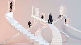 3D character  goes on the stairs to reach the goal. Or arrive to his destination Royalty Free Stock Image