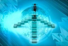 3d character going on top of four way stairs illustration Royalty Free Stock Image