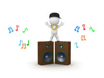 3D Character with gold chain standing on top of large speakers   Stock Photo