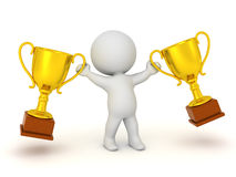 3D Character with Gold Trophies Royalty Free Stock Photos