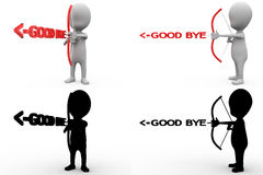 3d character good bye arrow concept collections with alpha and shadow channel Stock Photo