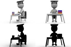 3d character graduate on book table concept collections with alpha and shadow channel Royalty Free Stock Photo