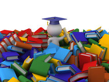 3D Character with Graduation Hat, Diploma, and Pile of Many Colo Stock Photography
