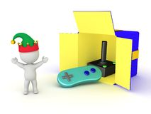 3D Character Happy and Gift Box with Video Game Controller Royalty Free Stock Images