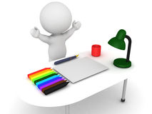 3D Character happy that his desk neat clean and organized Royalty Free Stock Photography