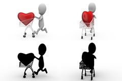 3d character heart in cart concept collections with alpha and shadow channel Stock Photos