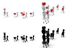 3d character heart in cart concept  collections with alpha and shadow channel Royalty Free Stock Photos