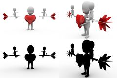 3d character heart dart concept collections with alpha and shadow channel Royalty Free Stock Images