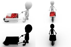 3d character hearts cart concept collections with alpha and shadow channel Stock Photos
