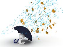 3D Character hiding under umbrella from wind and rain Royalty Free Stock Images