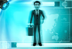 3d character with his travel bag for traveling illustration Stock Photos