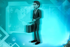3d character with his travel bag for traveling illustration Royalty Free Stock Photos