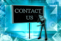 3d character with a hoarding of contact us illustration Stock Photos