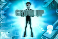3d character hold grow up text in hands illustration Royalty Free Stock Photo