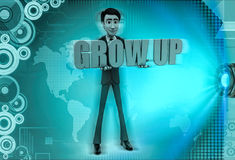 3d character hold grow up text in hands illustration Stock Images