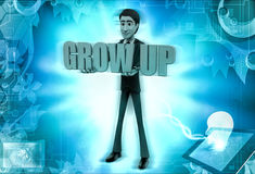 3d character hold grow up text in hands illustration Stock Photos