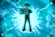3d character holding clock in one hand illustration Stock Photography