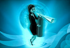 3d character holding fire extinguish in hands illustration Stock Images
