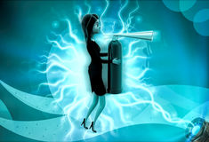 3d character holding fire extinguish in hands illustration Stock Image