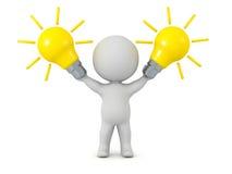3D Character Holding Idea Light Bulbs Royalty Free Stock Photo
