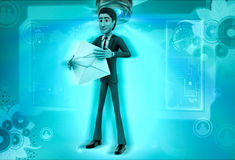 3d character holding mail in hands illustration Royalty Free Stock Images