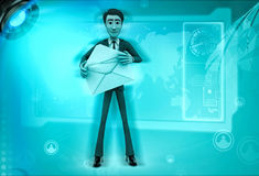 3d character holding mail in hands illustration Stock Photo