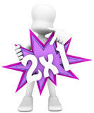 3d character holding a promotional poster Royalty Free Stock Photo