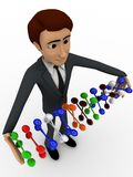 3d character holding set of dna in hand concept Stock Images